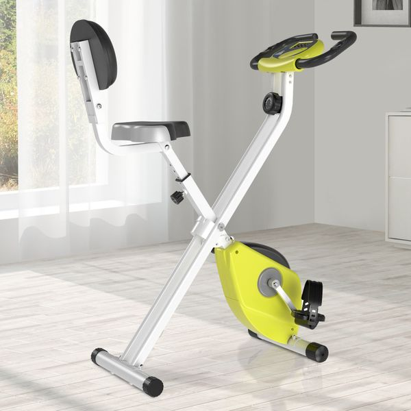 Soozier Folding Upright Training Stationary Indoor Bike with 8 Levels of Magnetic Resistance for Aerobic Exercise Yellow w/ | Aosom