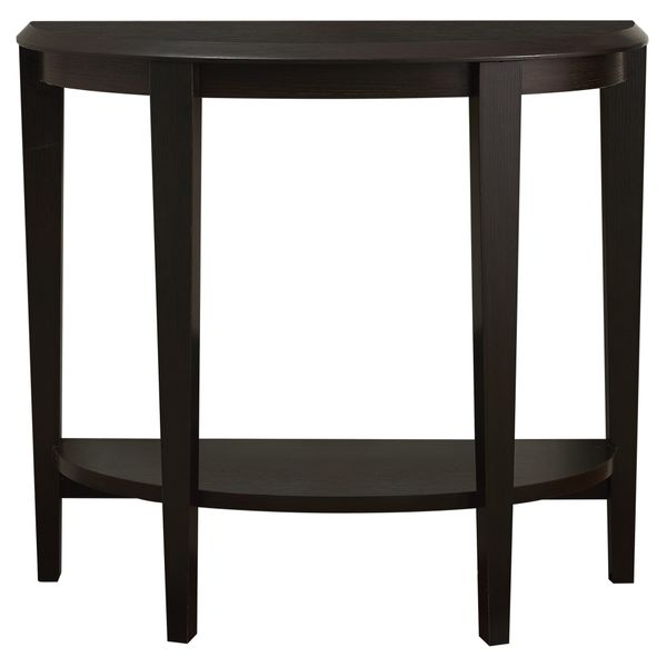 """Monarch 36"""" Transitional Style Half-Moon Shaped 2-Tier Accent Console Table - Cappuccino Brown Finish 