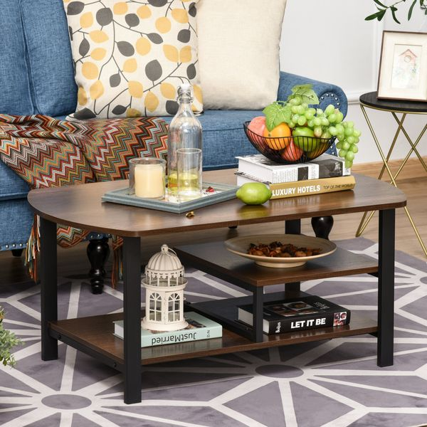 Homcom Vintage Coffee Table Rectangular Sofa Table With Storage Shelves For Living Room Bedroom Office 3-Tier Metal Frame Rustic Coffee Table W/ Undershelves - Brown | Aosom