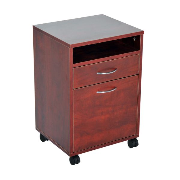 """Homcom Rolling File Cabinet 24"""" Rolling End Table Mobile Printer Cart Nightstand Organizer Ample Storage Space File Cabinets Rolling Nightstand - Brown 