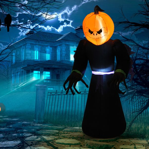 HOMCOM 7ft Tall Inflatable Halloween Pumpkin Reaper Light Up Yard Decoration with LED Lights and Fan | Aosom