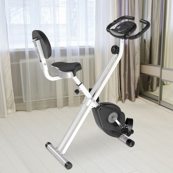 Soozier Foldable Upright Training Stationary Indoor Bike with 8 Levels of Magnetic Resistance for Aerobic ExerciseGrey Folding w/   Aosom
