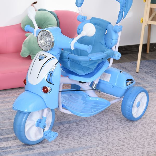 Qaba Children Tricycle for 3-8 Years Old kids 3 Wheel Removable Motorcycle Foldable Toddler Bike with Sunshade Music Lightening Battery powered Bike Blue LED   Aosom
