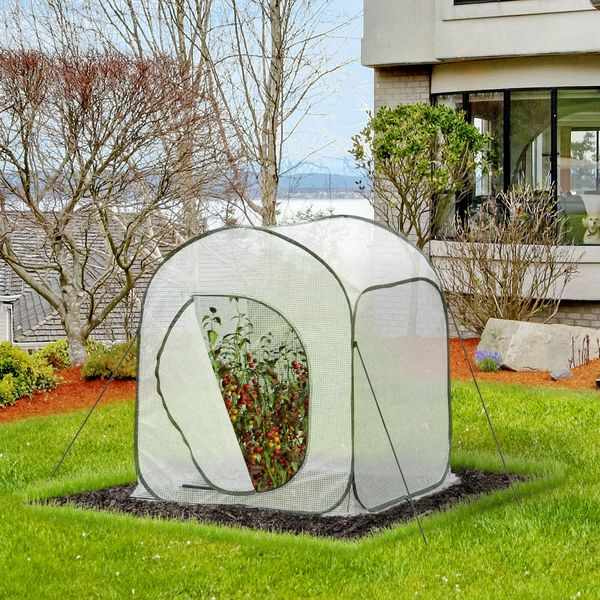 """Outsunny 36"""" x 36"""" x 43"""" Portable Pop Up Mini Greenhouse with Side Door & Portable Zipper Bag for Plants Outdoor White 36""""x36""""x43"""" w/ PE Cover 
