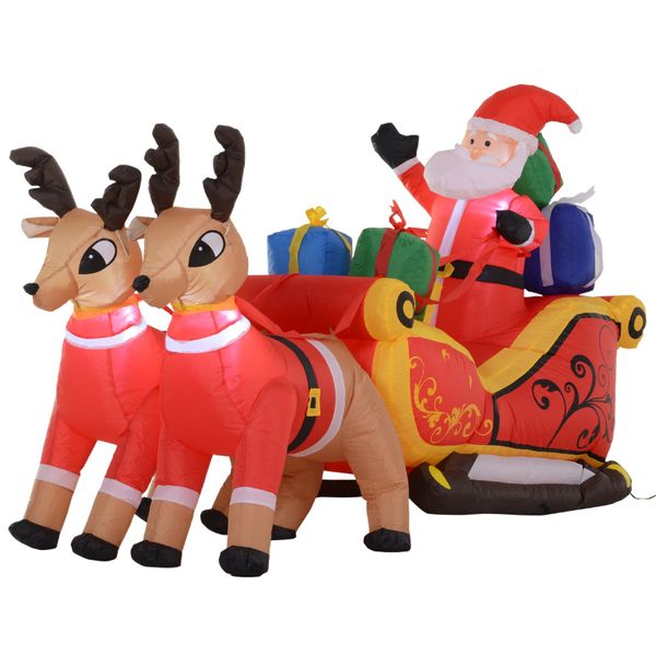 HOMCOM 7' L Christmas Holiday Yard Inflatable Outdoor  Light Up LED Airblown Decoration  Santa on Sleigh with Reindeer|AOSOM.COM