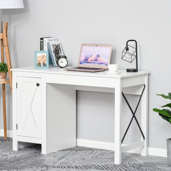 HOMCOM Computer Table Desk  Writing Workstation with Cabinet  Metal X-Bar for Living Room  Bedroom  Study  Office  Dorm  White Home | Aosom