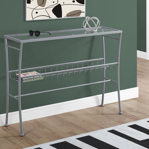 """Monarch 42"""" Contemporary Tempered Glass Top 2-Tier Metal Framed Wire Shelf Accent Console Table - Silver Finish   Aosom"""