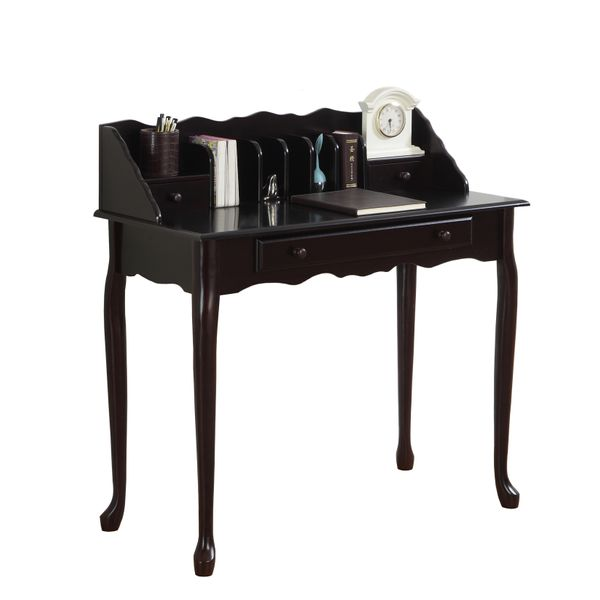 "Monarch 36"" Traditional French Style Queen Anne-Style Legs 2-Drawer Secretary Desk - Dark Cherry Finish 