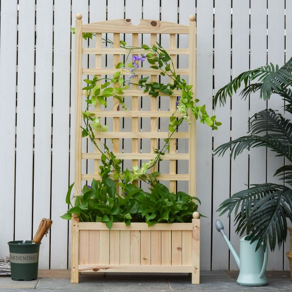 """Outsunny Raised Bed With Trellis Standing Lattice Panels For Plants Flowers Or Vine Garden Outdoor Indoor 23.5"""" X11.5"""" X49.25"""" Natural   Aosom"""