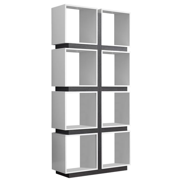 """Monarch 71"""" Modern Art-Deco Hollow-Core Bookcase with Cubic Storage Shelves and Reclaimed Wood Look Finish - White / Grey 