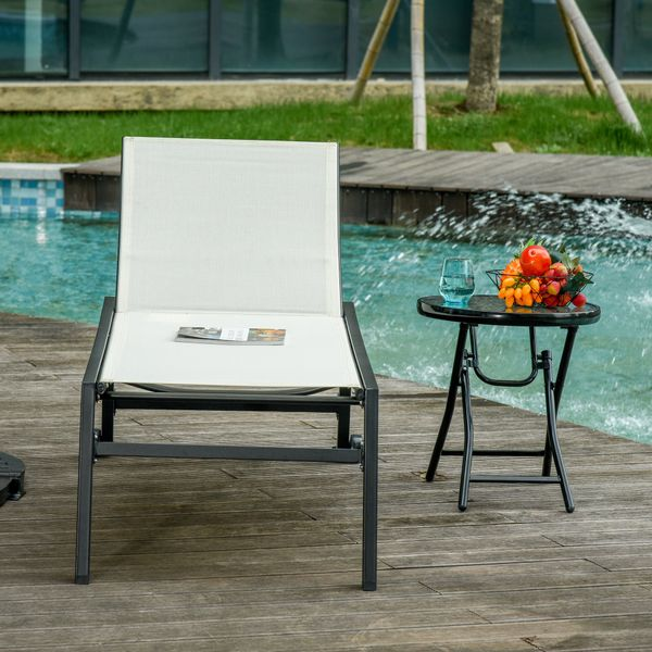 Outsunny Reclining Chaise Lounge Outdoor Wooden Lounge With Wheels & Adjustable Backrest Bed Lounger White W/ | Aosom