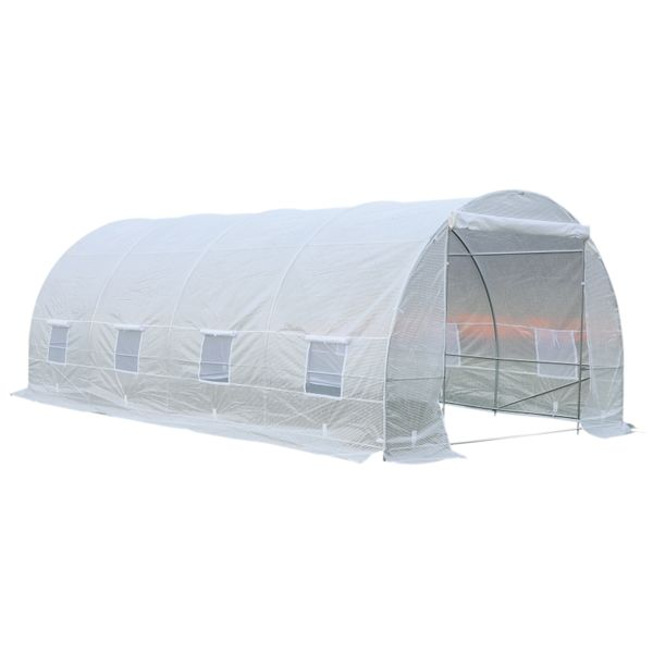Outsunny 20' x 10' x 7' Freestanding High Tunnel Walk-In Garden Greenhouse Kit - White|AOSOM.COM