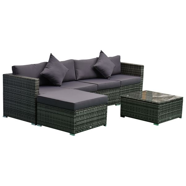 Outsunny 6-Piece Outdoor Patio Rattan Wicker Furniture Set with Comfortable Cotton Cushions  Removable Slip Covers  Grey w/|AOSOM.COM
