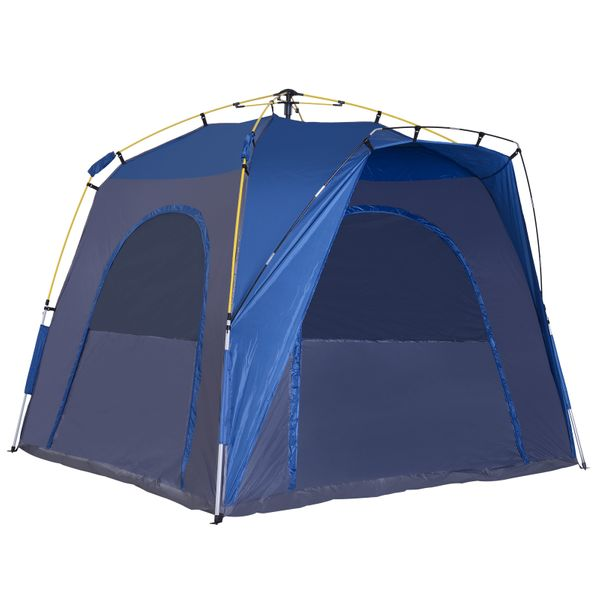 Outsunny Automatic Camping Tent 2 3 4 5 Person Backpacking Dome Shelter Portable - Blue   Aosom