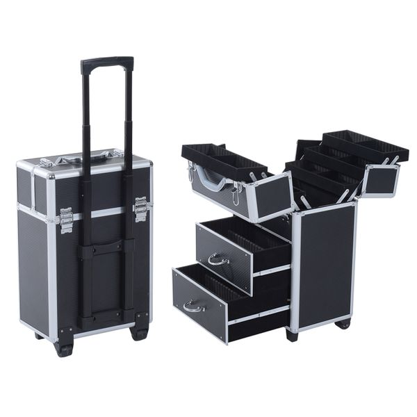 Soozier 4 Tier Lockable Cosmetic Makeup Train Case with Extendable Trays|AOSOM.COM