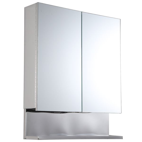"kleankin 24"" x 28"" Stainless Steel Wall Mount Bathroom Medicine Cabinet with Mirror