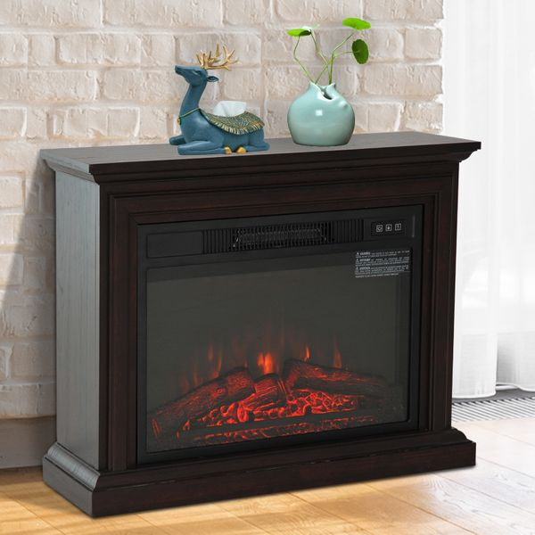 """HOMCOM 31"""" 1400W Freestanding Electric Fireplace Heater with Full Frame Wooden Mantel / Dark Coffee Wood Flame electric fireplace heater with mantel 