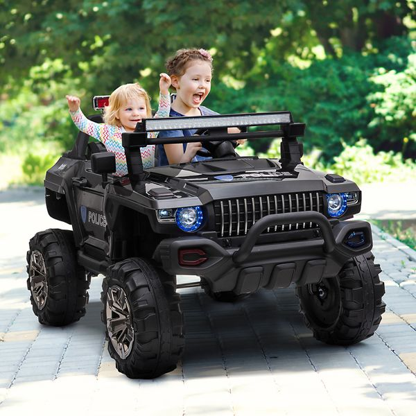 Aosom 12V Electric Battery Operated Riding Car Toy for Toddlers Police SUV 2 Seat | Aosom