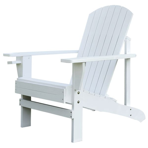 Outsunny Lawn and Beach Chairs Outdoor Wood Adirondack Chair Patio Chaise Lounge Deck Reclined Bench White | Aosom