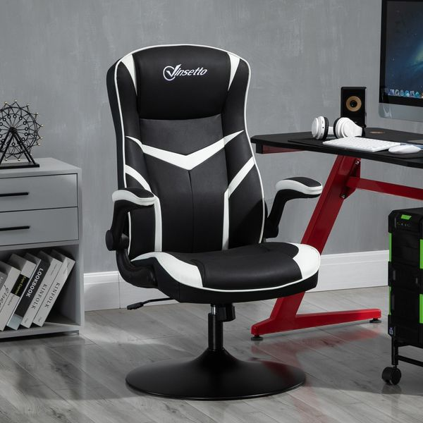 Vinsetto High Back Video Gaming Chair Height Adjustable Flip-up Armrest 360° Swivel with Pedestal Base  Black  and White Flip   Aosom