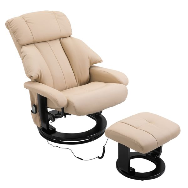 HOMCOM PU Leather Swivel Recliner Massage Chair Footstool and Remote Control - Cream White|AOSOM.COM