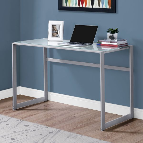 """Monarch 48"""" Contemporary Frosted Tempered Glass Top Computer Writing Desk - White / Silver   Aosom"""
