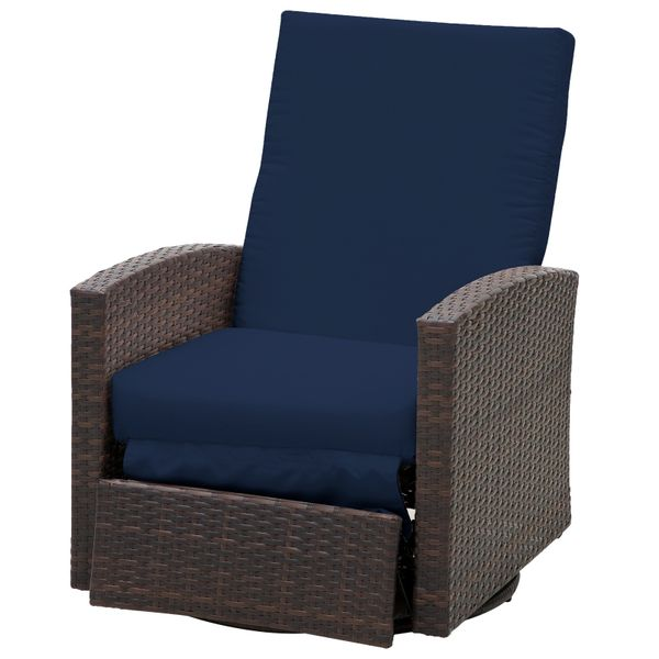 Outsunny Outdoor Rattan Wicker Swivel Recliner Lounge Chair with Water/UV Fighting Material and Comfort - Coffee Brown PE w/ Soft Foam Cushions & Weather Defiance | Aosom