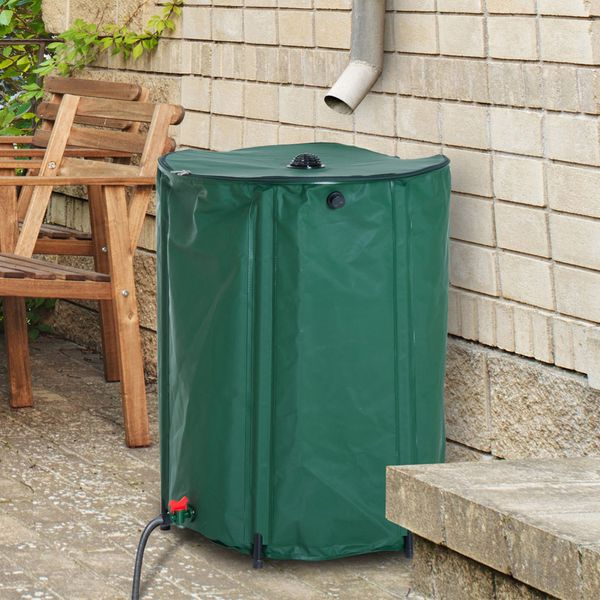 Outsunny 105 Gallon Rainwater Harvesting System Collection Tank with Collapsible Runoff 105-Gal Portable   Aosom