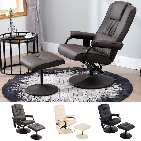 Massaging PU Leather Recliner and Ottoman with Leather Wrapped Base | Aosom