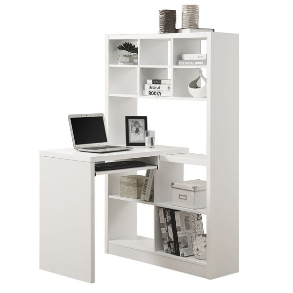 Monarch Contemporary Left or Right Facing Adjustable Hollow Core Corner Desk with Storage Shelves and Pull Out Keyboard Tray - White | Aosom