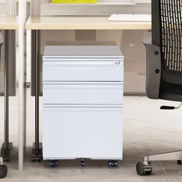 "HOMCOM 24"" Steel 3 Drawer Locking File Cabinet on Wheels - Grey