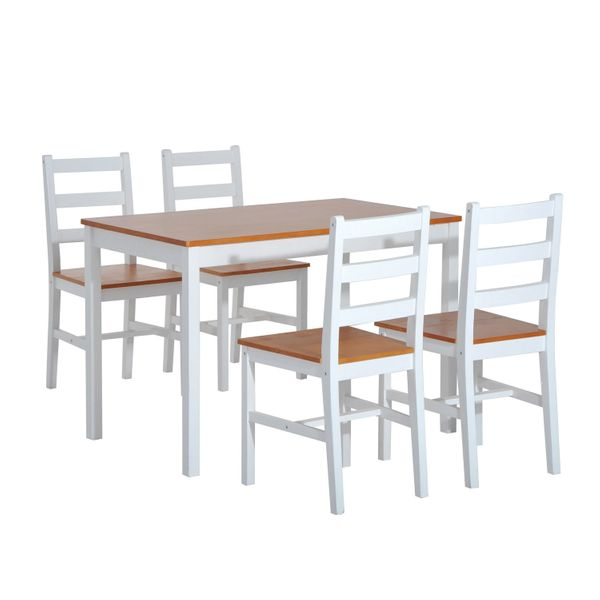 HomCom Five Piece Solid Pine Wood Table and High Back Chair Dining Set - White/Natural Wood|AOSOM.COM