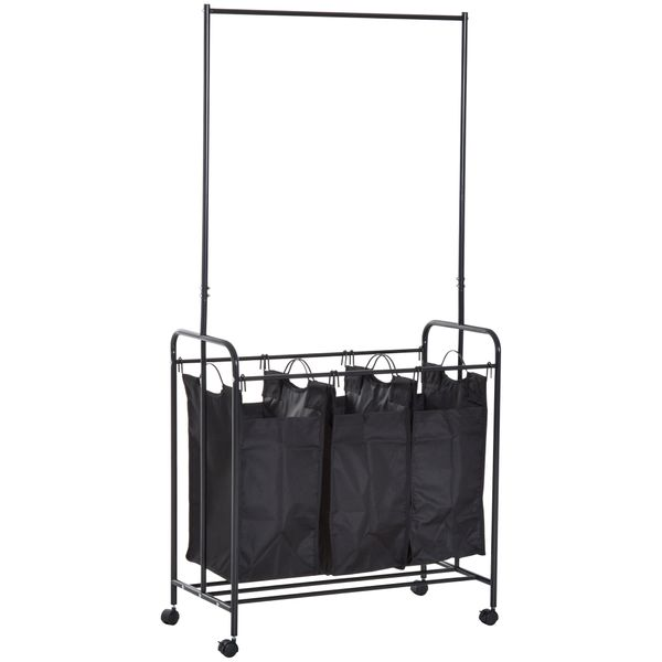 HOMCOM Black 3-bag Rolling Laundry Sorter Laundry Hamper Cart with Wheels and Hanging Bar | Aosom