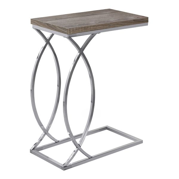 """Monarch 25"""" Contemporary Curvy Chrome Metal Base C-Shaped Side Accent Table - Dark Taupe Finish 