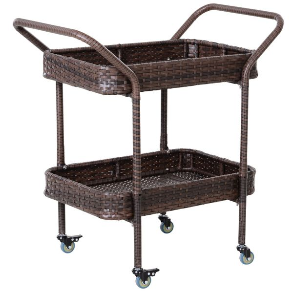 Outsunny Rolling Rattan Wicker Outdoor Kitchen Trolley Serving Cart 2 Tray Shelves|AOSOM.COM
