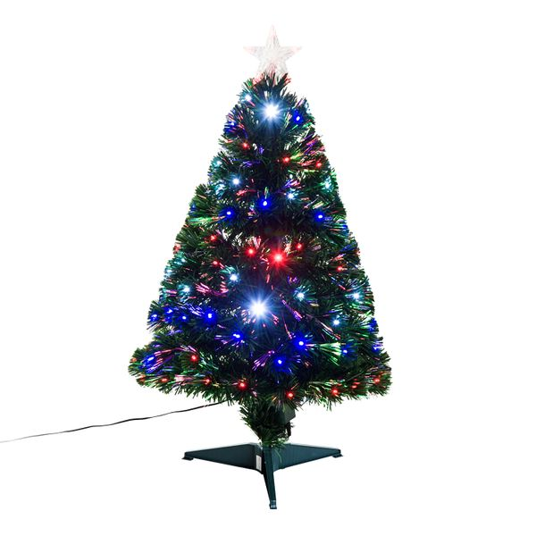 HOMCOM 3FT Tall Artificial Tree Multi-Colored Fiber Optic LED Pre-Lit Holiday Home Christmas Decoration - Green | Aosom
