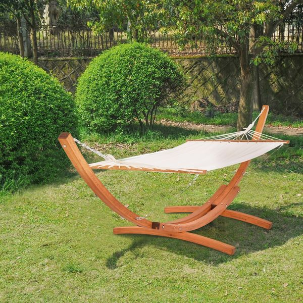 Outsunny Cypress Wooden Arc Hammock Stand with / Double Wide wood frame freestanding hammock|Aosom.com
