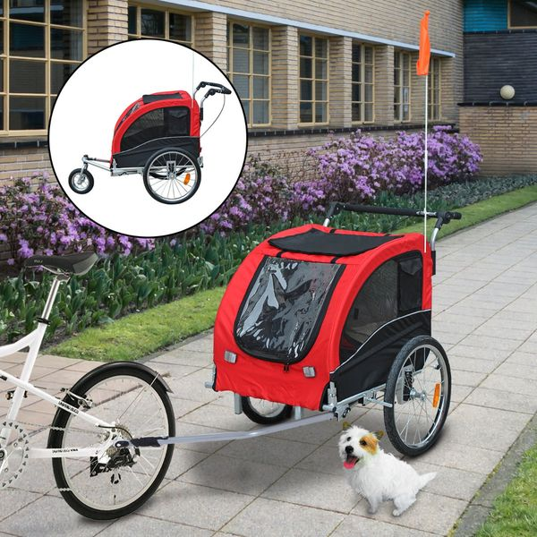 Aosom Elite II 2-In-1 Pet Dog Bike Trailer And Stroller With Suspension And Storage Pockets Red | Aosom