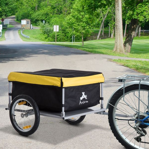 Aosom Bike Cargo Trailer Elite Luggage Black Steel Frame Bicycle Cart Carrier For Shopping Handy - Yellow covered bicycle trailer | Aosom