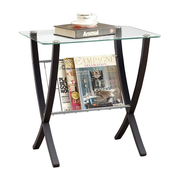 """Monarch 24"""" Contemporary Bentwood Legs Tempered Glass Top Accent Side Table with Magazine Storage Rack - Cappuccino Brown Finish 