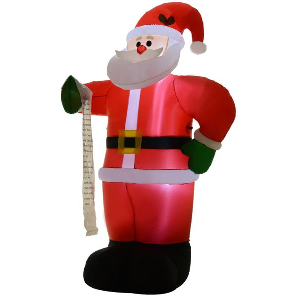 HOMCOM 8' Tall Outdoor Lighted Airblown Inflatable Christmas Lawn Decoration  Santa Claus with List|AOSOM.COM