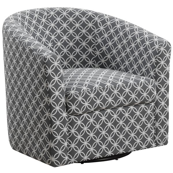 Monarch Transitional Style Upholstered Circular Print Swivel Accent Chair - Dark Brown | Aosom
