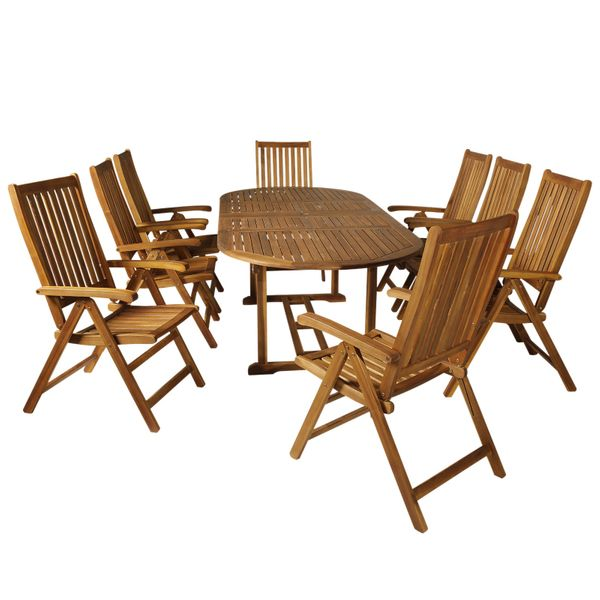 Outsunny 9 Piece Acacia Wood Dining Set Expandable Table Compact Folding Chair|AOSOM.COM