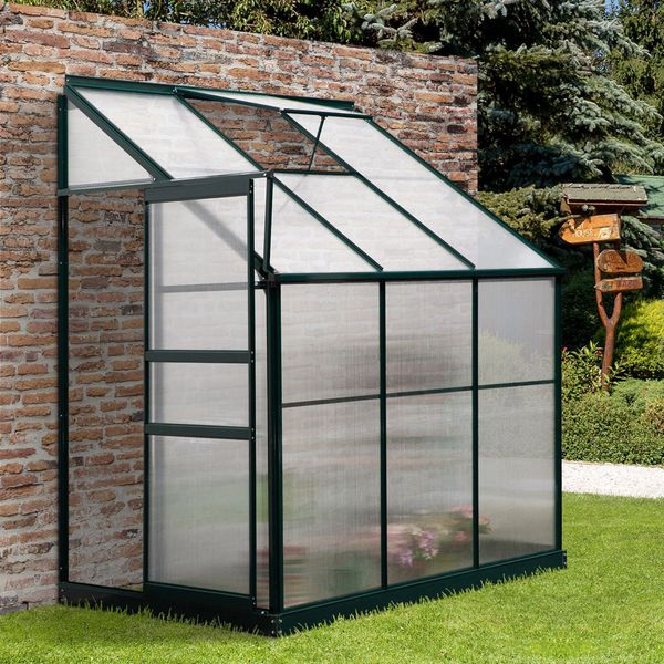 Outsunny Walk-In Garden Greenhouse Aluminum Polycarbonate with Roof Vent for Plants Herbs Vegetables 6.3' x 4' x 7.25' Airy | Aosom