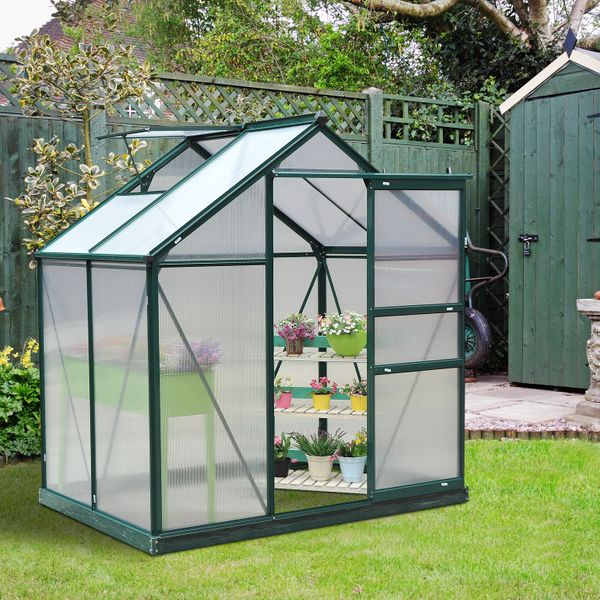 Outsunny 6'L x 4'W 7'H Twin Wall Polycarbonate Portable Walk-In / Garden polycarbonate walk-in greenhouse