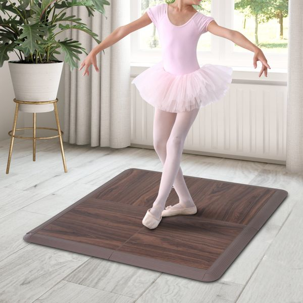 Soozier Portable Dance Floor 4 Piece Thick Ballet Kit General Flooring Trade Show Booths Home Outdoors | Aosom