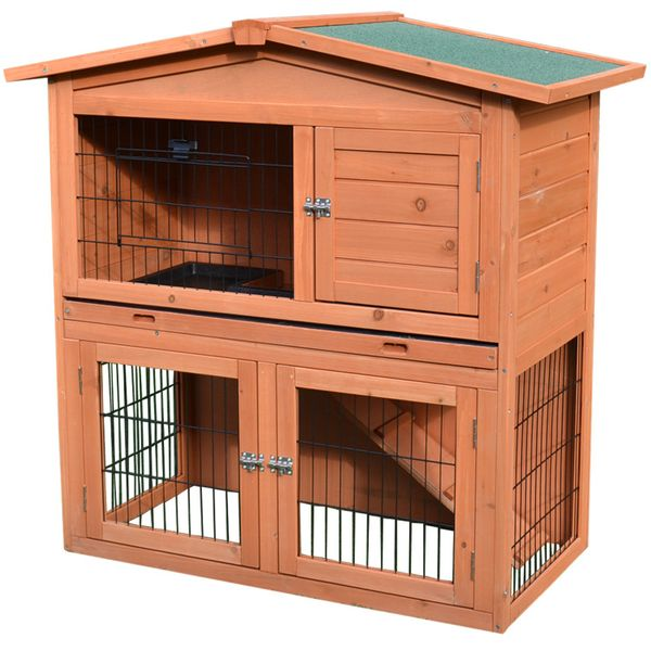 "Pawhut 40"" Wooden Hutch Pet House Habitat Coop with Ramp  Rabbit Small Animal Cage multi-level outdoor rabbit hutch