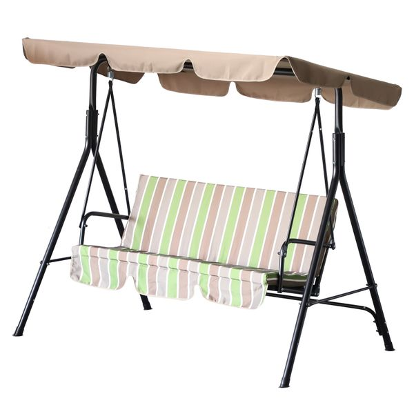 Outsunny Patio Swing With Canopy Metal Porch Swing Frame Only Lounge Chair 3 Person With Top Canopy Garden | Aosom