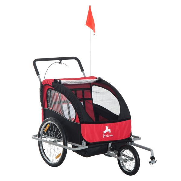 Aosom 2-in-1 Double Child Bike Trailer and Stroller - Red / Two-Wheel Cart Cargo Stroller/ Runner Elite Child bike trailer and Stroller | Aosom