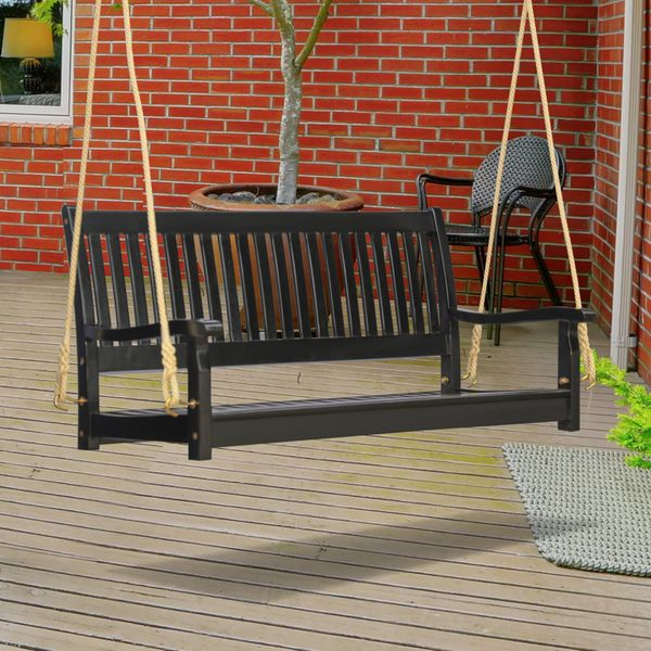 Outsunny 48'' Wooden Swing Bench w/ Supportive Ropes for 2 Person Without Frame for the Patio  Deck  or Backyard Black Porch Outdoor | Aosom